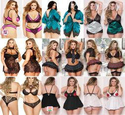 Womens Sexy Lace Plus Size Lingerie Dress Babydoll Sleepwear