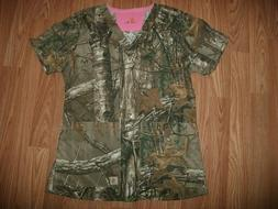 CARHARTT Womens Short Sleeve V-Neck *XS* Camo Scrub Top Pock
