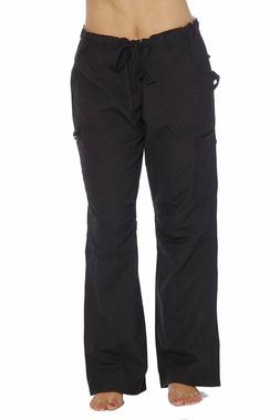 Just Love Womens Utility Solid Scrub Elastic Band Pants Blac