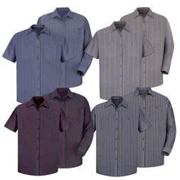 Red Kap Work Shirt Poplin Stripe 2 Pocket Men's Industrial U
