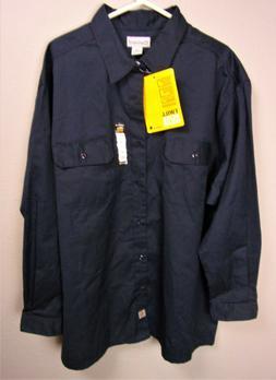 Carhartt Twill Workwear Mens Sz 3XL Navy Blue Long Sleeve Un
