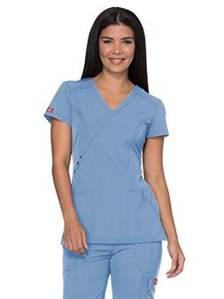 Dickies Xtreme Stretch Jr. Fit Mock Wrap Top' Scrub Top Sky
