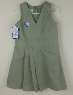 Dickies Youth Girl's Size 10 1/2 Khaki Jumper Pleated School