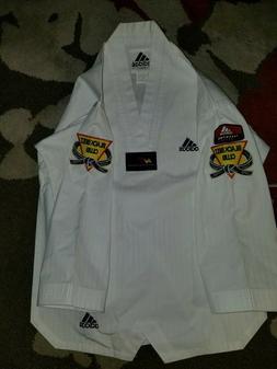 Youth Size 0 Adidas Taekwondo Big Back Logo Black Belt White