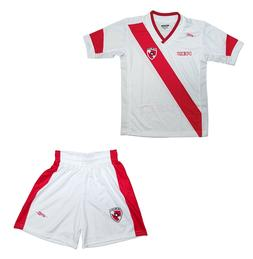 Youth Soccer Uniform Peru Arza color White/Red 100% Polyeste